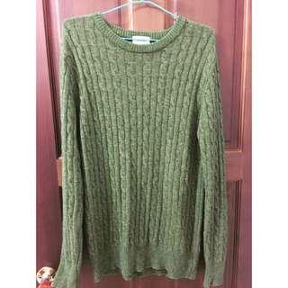 韓國綠色長版毛衣