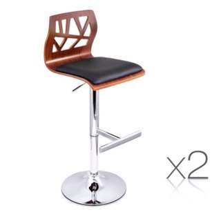 Set of 2 PU Leather Wooden Kitchen Bar Stool Padded Seat Black