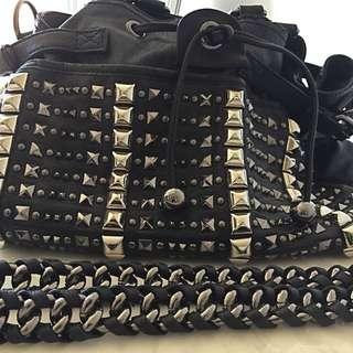 Oroton Leather And Stud Handbag RRP $800+