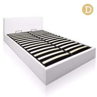 Deluxe Gas Lift PU Leather Storage Bed Frame Double White