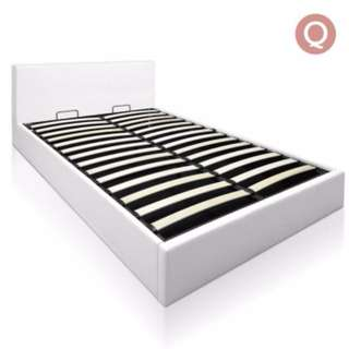 Deluxe Gas Lift PU Leather Storage Bed Frame Queen White