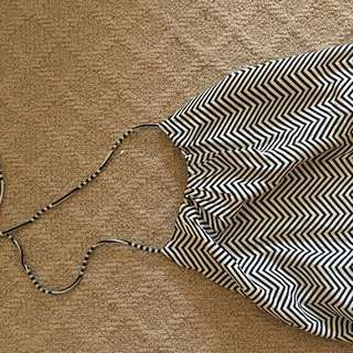 Stripped Maxi Halter Neck