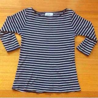 Zara organic Cotton Striped 3/4sleeve Top
