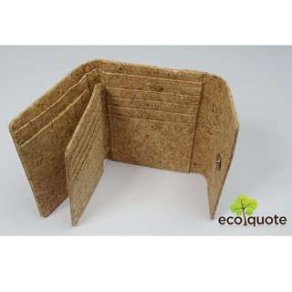 EcoQuote Tri Fold In Wallet Handmade Cork Material