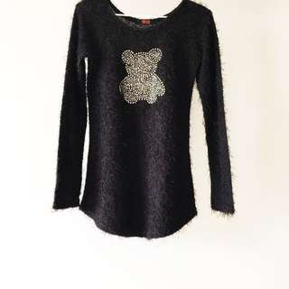 Flurry Mickey Long Sleeve Black Top