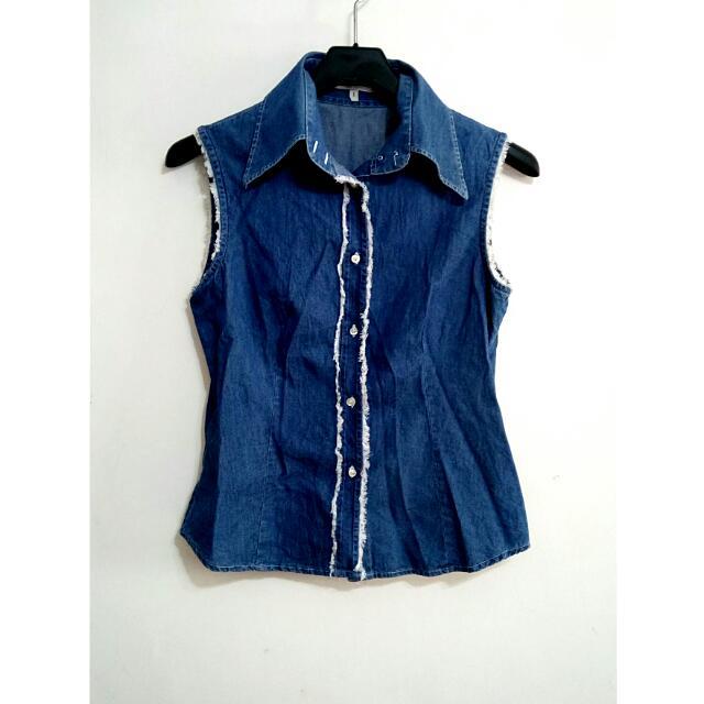 100%純棉!義大利品牌💓設計款丹寧無袖上衣—深藍色