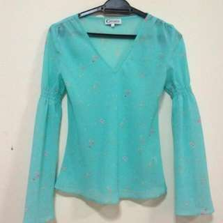 Baby Blue Long Bell Sleeves
