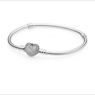 Brand New Pandora Pave Heart Clasp Bracelet