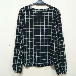 Black & White Checkered Blouse