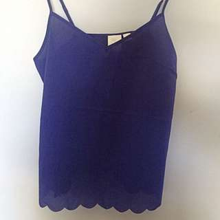 Anthropology Elouise Navy Scallop Top Size S