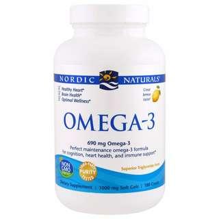 [PO] Nordic Naturals, Omega-3, Lemon, 1000 mg, 180 Soft Gels