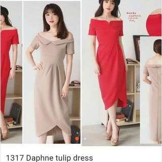 Tulip Dress Ld 96 Bahan Scuba