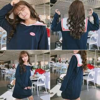 日韓海軍水手服刺繡少女連衣裙