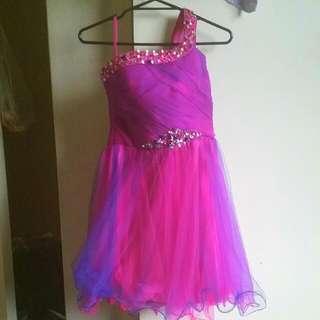 Purple Pink Over Shoulder Dress