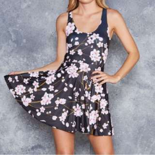 Blackmilk Cherry Blossom Reversible Skater Dress