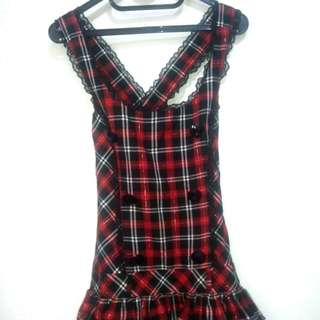 Kawaii Lolita Dress Red Gingham (Outter Only)