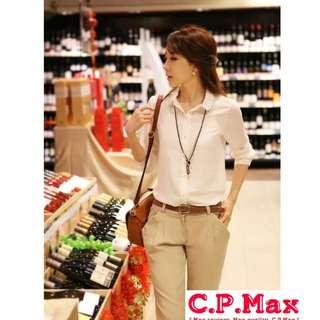 C.P.Max 新款春夏韓版雪紡襯衫 長袖襯衫 白襯衫 輕熟女 淺金鍊 修身百搭 小資女 會議 正式 上班族必備