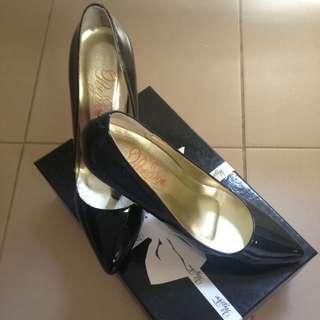 Peep Toe Black High Heels
