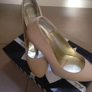 Peep Toe Cream High Heels