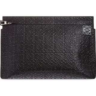 LOEWE Logo-embossed large leather clutch pouch