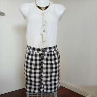 Brand New Black And White Checkered Casual / Punk Rock Button Up Skirt