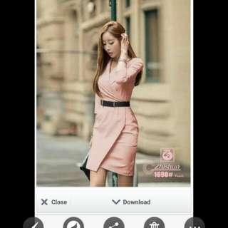 Pink Formal Dress With Belt