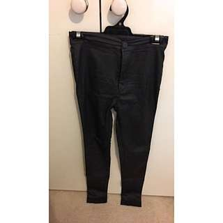 Size 8, Pulpkitchen Mid Rise Coated Skinny Jean In Black
