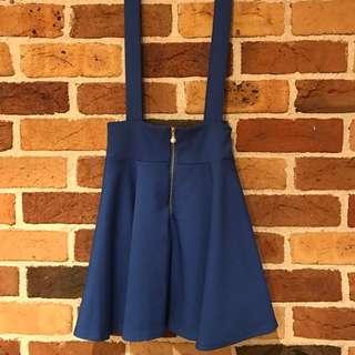 Blue Suspender Mini Skirt