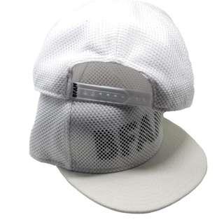 5 panel snapback Cap with mesh finish white with black BFAM Transparent