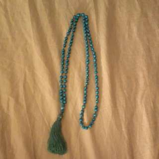 Mala bead style necklace with tassle