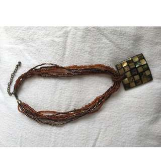 Square Pendant Necklace With Beaded Chain