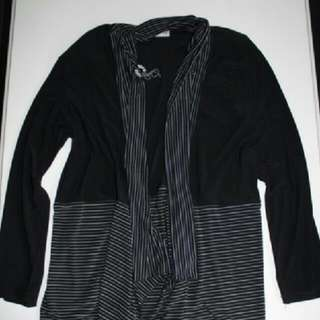 Black Striped Cardigan Size Large