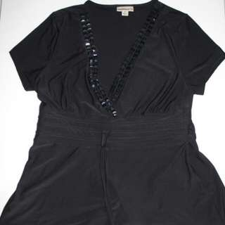 Black Short Sleeve Stylish Top With Studs MILLERS Size Large