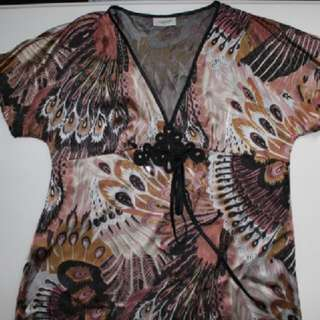 Feather Tribal Print Stylish Top CROSSROADS Size 14 New