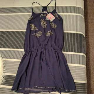NAVY BLUE BEADED COCKTAIL DRESS SIZE L