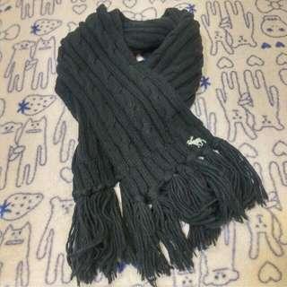 A&F 流蘇針織圍巾-黑