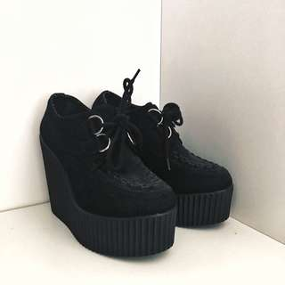Black London Rebel Platform Shoes.