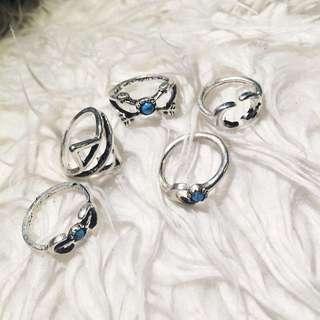 Vintage Turquoise Ring Set