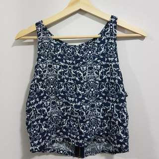 Navy And White Floral Top