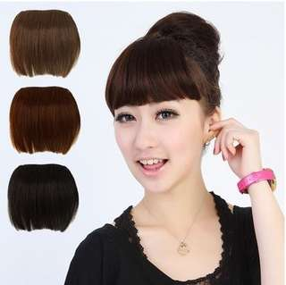 Natural fringe Neat Front Clip On Hair Bangs