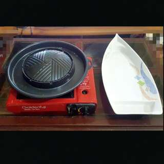 💗SALE💗 Portable Burner ,grill Plate And Dish Set