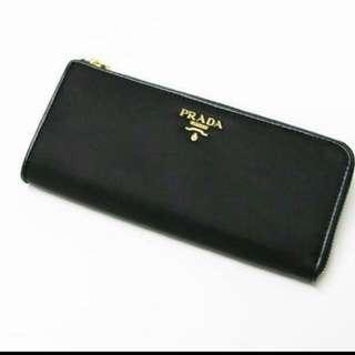 Black Prada Wallet With Gold Zip