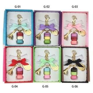 France Effiel Tower Keychains Brands Woman Luxury Macarons Cake Keychain on Bag Purse Handbag Charms Car Keychain with Gift Box