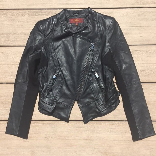 7 For All Mankind Black Leather Jacket