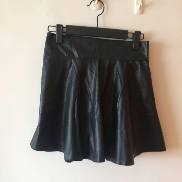 💙皮質鬆緊腰短裙