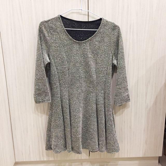 星空銀七分袖洋裝