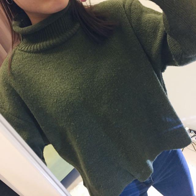 二手__墨綠色短板高領針織毛衣
