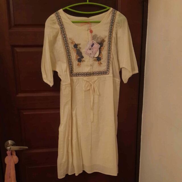 全新氣質初春洋裝(米色,波西米亞風)