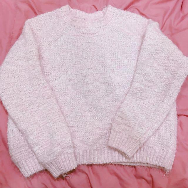 全新粉紅針織上衣