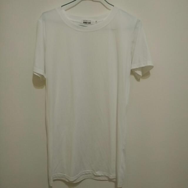 白色長版衣